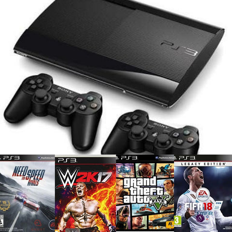 Ps3 console with 2 controller with 15 games 1 year warranty