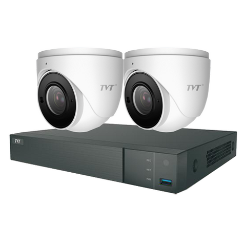 TVT 4CH 8MP PoE NVR+3TB + 2x 5MP Mini  Eyeball  2.8mm  Kit