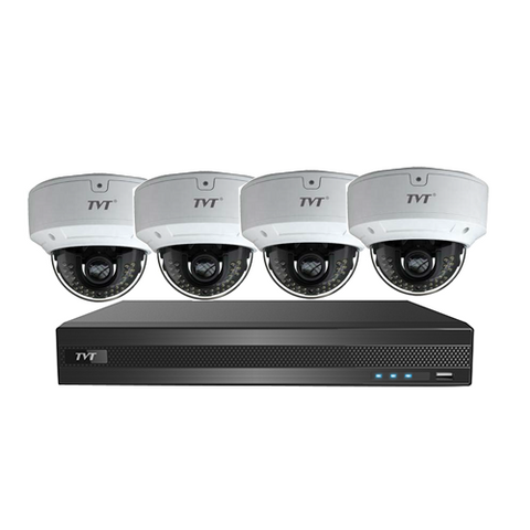 TVT 4CH 5MP DVR+3TB+4x 5MP Vandal Domes VF Lens Kit