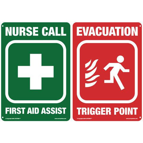 AarcEvac  AARC LG SAFETY SIGN, EVAC & FIRST AID-NURSE CALL 400(W)mm x 300(H)mm CSM