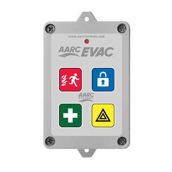 AARC  TX 5CH WALL MOUNT, EVAC, LOCKDOWN, FIRST AID, DURESS, (Prog/with up to 10 SOS Zones) & HIDDEN CANCEL CSM security suppliers Security wholesalers