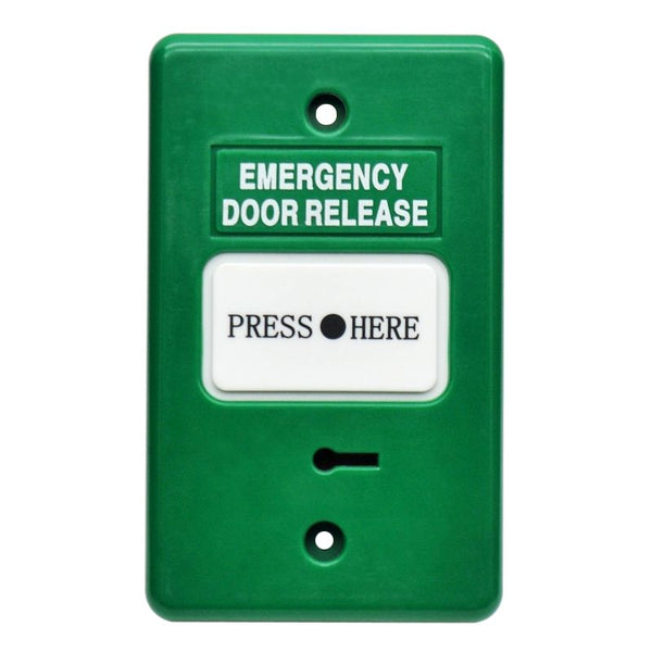 Resettable Emergency Dr Release GREEN IP55 GPO 2xSPDT CSM security suppliers Security wholesalers
