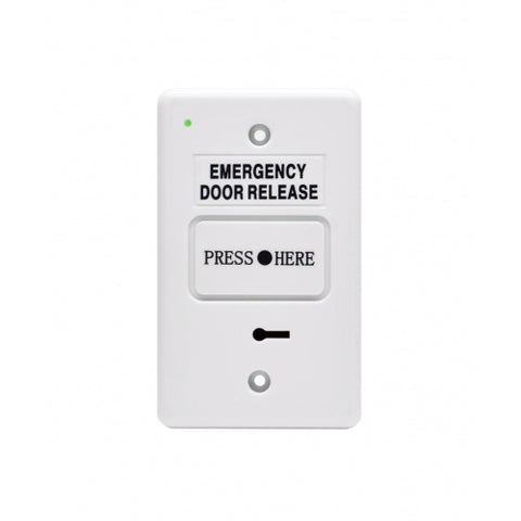 Resettable Emergency Dr Release w/ buzzer LED WHITE IP55 GPO 2xSPDT