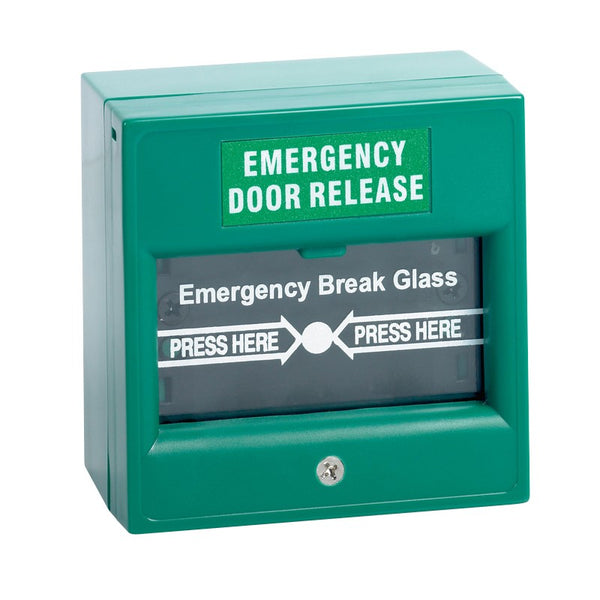 Break glass emergency release, green - csmerchants.com.au
