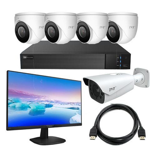 TVT Face Recognition Kit with 8CH NVR+4TB,6MP Eyeballs,1 Bullet, LCD Monitor CSM