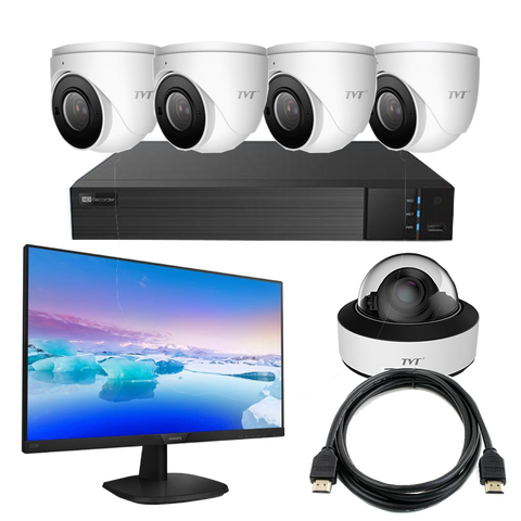 TVT Face Recognition Dome Kit,8CH NVR+4TB,6MP Eyeballs, LCD Monitor CSM