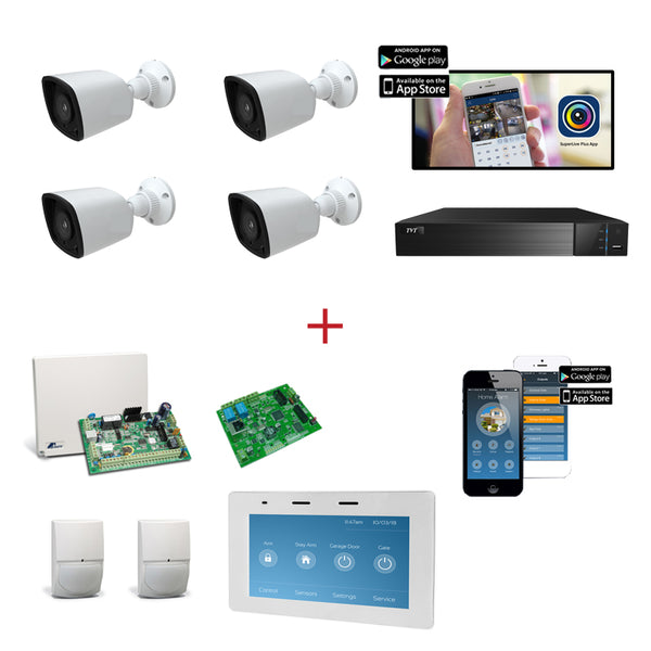 csmerchants.com.au  TruVue CCTV 4 Channel Analogue HD CCTV Kit + Alarm Kit Crow 8 Zone Alarm Kit with touch screen keypad CSM