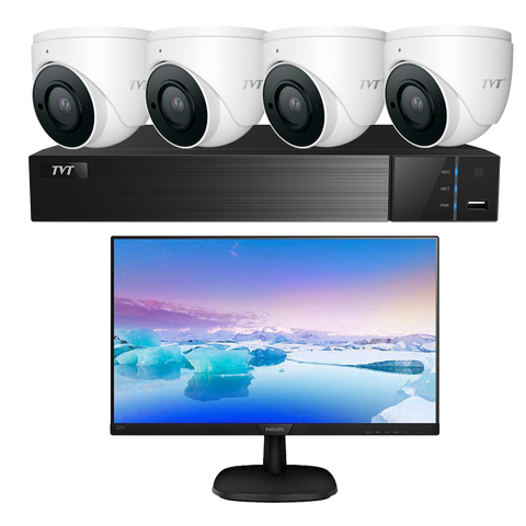TVT 4CH 6MP PoE NVR+2TB+ 4x 6MP S3A Mini Eyeball+Monitor Kit CSM