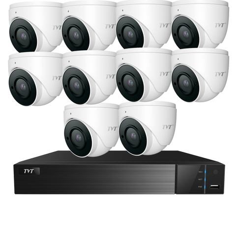 TVT  TVT 16CH 8MP PoE NVR+4TB + 10x 6MP S3A Mini Eyeball Kit CSM