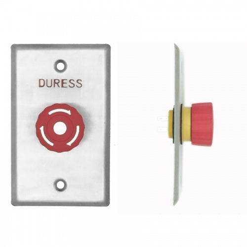 Duress Twist-To-Reset Mushroom Button, Plate, Red, IP65 - csmerchants.com.au