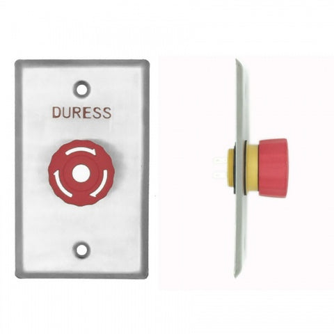 Duress Twist-To-Reset Mushroom Button, Plate, Red, IP65 CSM security suppliers Security wholesalers