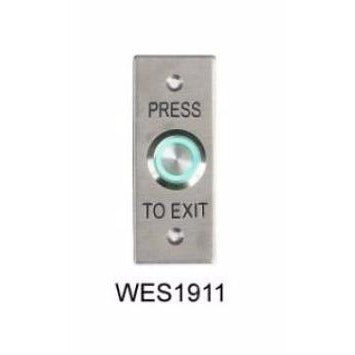 Flush Exit Button, Illum Green, Architrave, IP65, Fly Leads