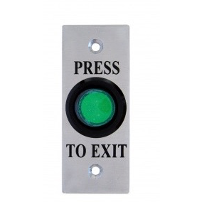 Round Exit Button, Illum Green, Architrave, Fly Leads