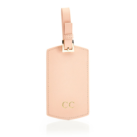 Personalised Saffiano Leather Luggage Tag - Nude