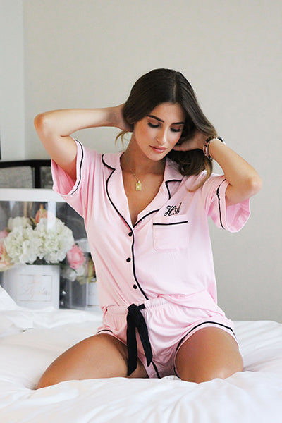 Personalised HA Sleep Jersey Short Sleeve Pyjama Set - Pink