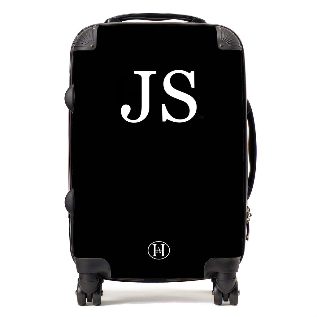 Personalised HA Designs Monogram Printed Suitcase - Black