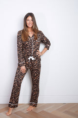 Limited Edition Flavia & Deva Personalised Jersey Long Sleeve Pyjama Set - Leopard * dispatched week commencing 4th November