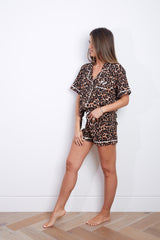 Limited Edition Flavia & Deva Personalised Jersey Short Sleeve Pyjama Set - Leopard