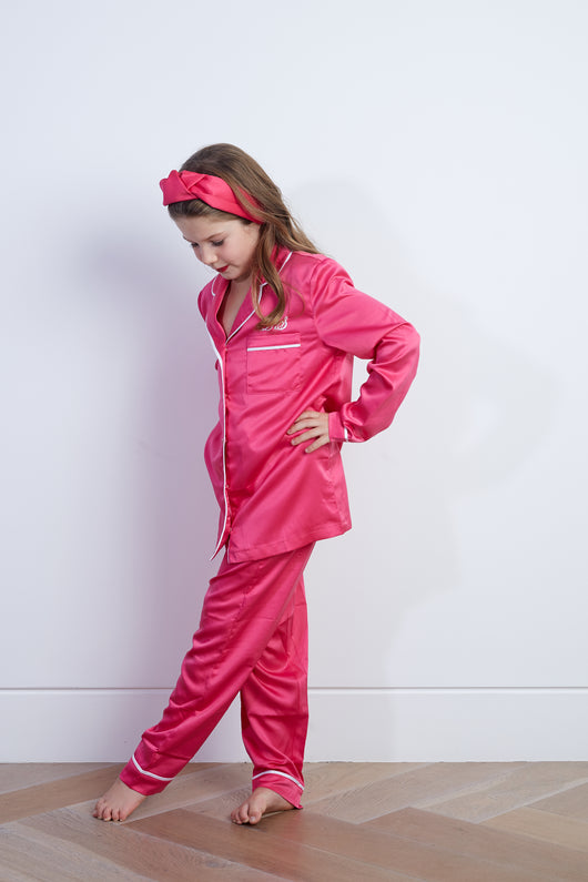 Personalised HA Mini Children's Satin Long Sleeve Pyjama Set - Fuchsia