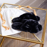 PRE ORDER Personalised Luxury Fluffy Slippers - Black *Pre Christmas Delivery