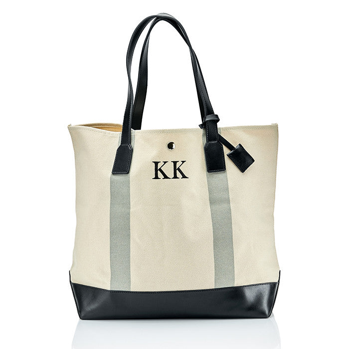 Personalised Stripe Monogram Canvas Beach Clutch & Bag Set - Grey
