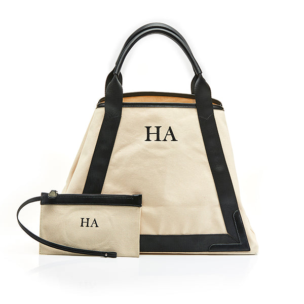 Personalised Black Monogram Canvas Beach Bag & Pouch