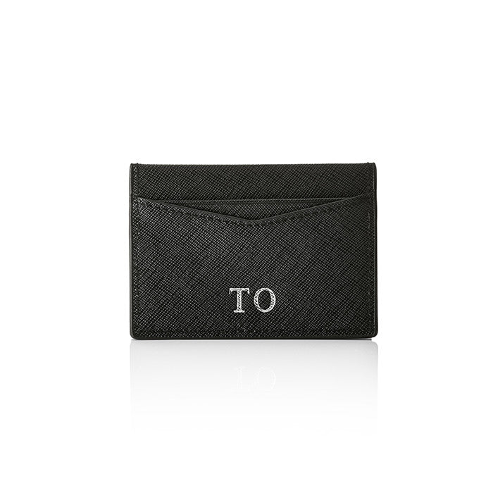 Personalised Saffiano Card Holder - Black