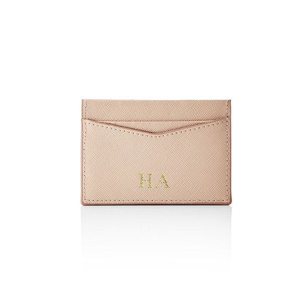 Personalised Saffiano Card Holder - Nude