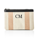Personalised Stripe Monogram Canvas Beach Clutch & Bag Set - Nude