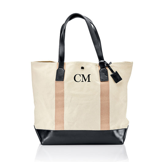 Personalised Stripe Monogram Canvas Beach Bag - Nude