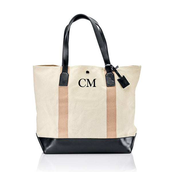 Personalised Stripe Monogram Canvas Bag - Nude