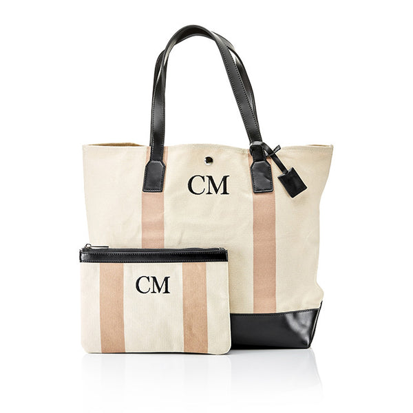Personalised Stripe Monogram Canvas Clutch & Bag Set - Nude