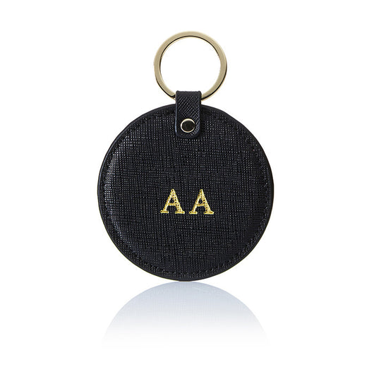 Personalised Saffiano Circle Key Ring - Black