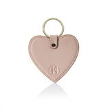 Personalised Saffiano Heart Key Ring - Nude with Gold