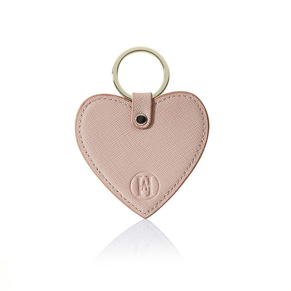 Personalised Saffiano Heart Key Ring - Nude