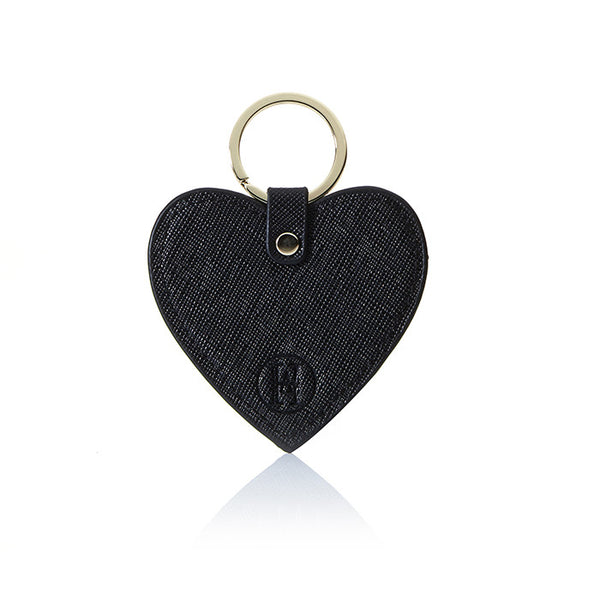 Personalised Saffiano Heart Key Ring - Black with Gold