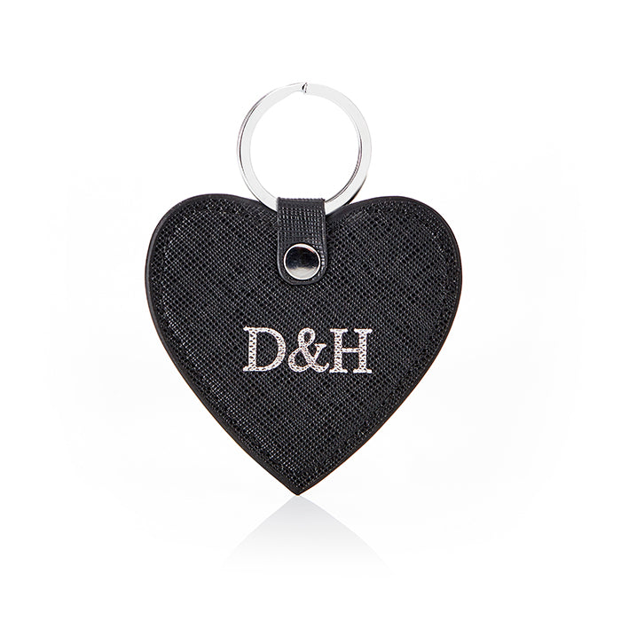 Personalised Saffiano Heart Key Ring - Black with Silver