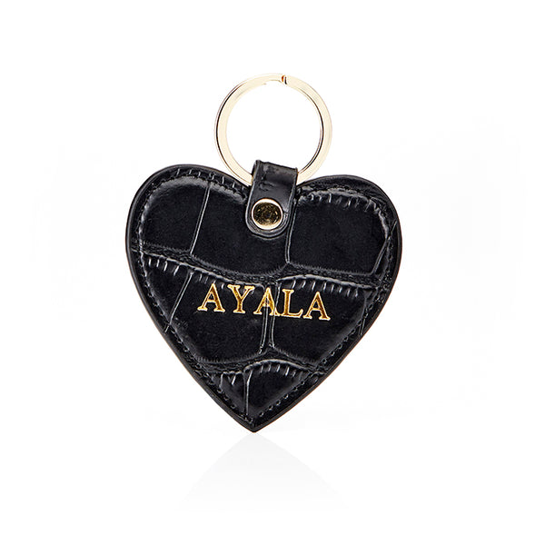 Personalised Leather Croc Heart Key Ring - Black with Gold