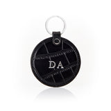 Personalised Leather Croc Circle Key Ring - Black