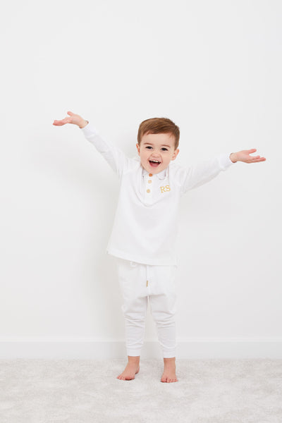 Personalised HA Mini Long Sleeve Tracksuit Set - White