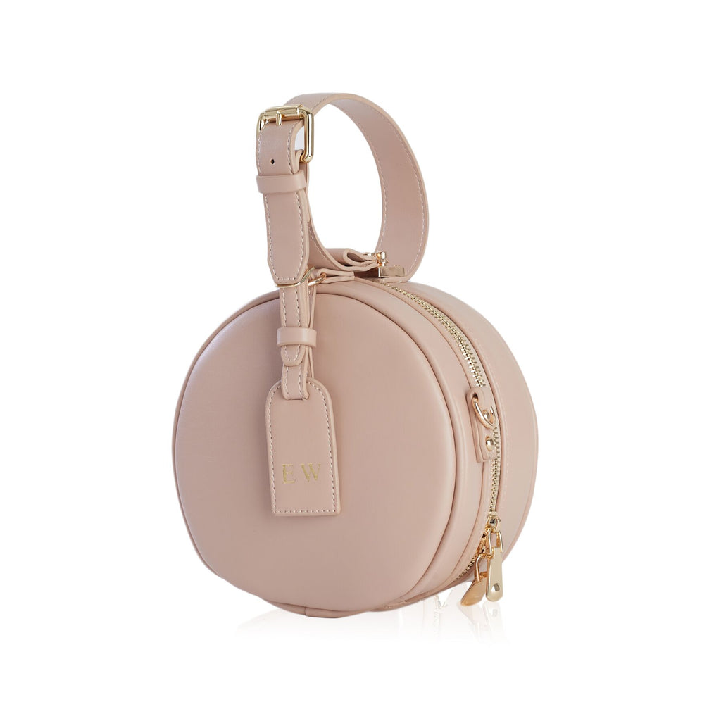 Personalised Petite Round Bag - Nude