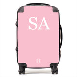 Personalised HA Designs Monogram Printed Suitcase - Pink