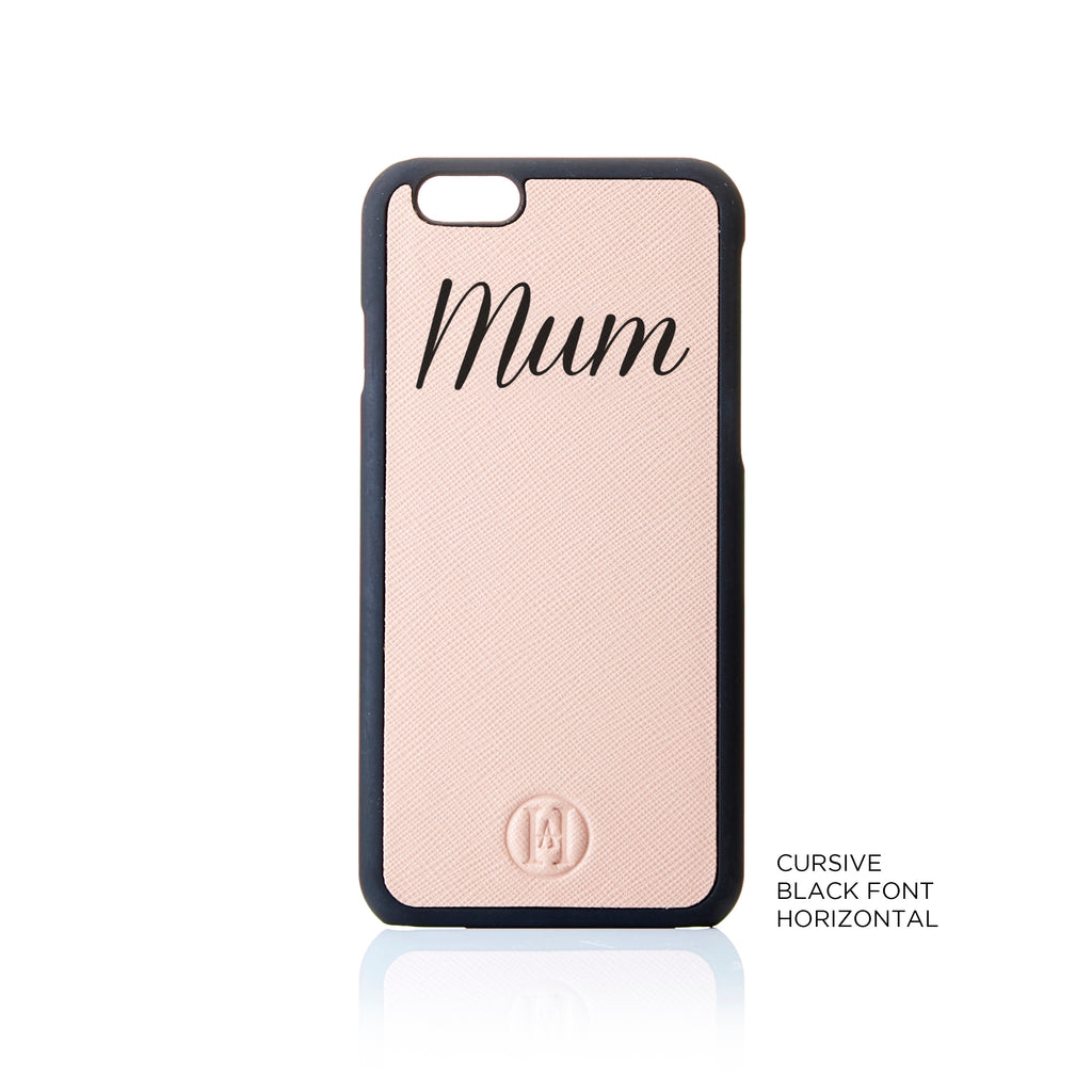 Personalised Shadow Text Saffiano Leather Phone Case - Nude