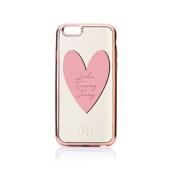 Personalised Heart Text Saffiano Leather Phone Case - Ivory Rose Gold