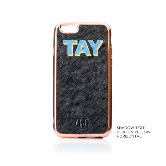 Personalised Shadow Text Saffiano Leather Phone Case - Black Rose Gold