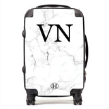 Personalised HA Designs White Marble Printed Suitcase