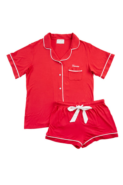 Personalised HA Sleep Jersey Short Sleeve Pyjama Set - Red