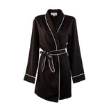Maid Of Honour HA Sleep Satin Dressing Gown Robe - Black