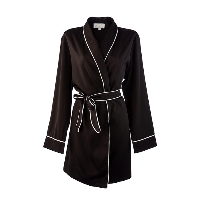 Mother Of The Groom HA Sleep Satin Dressing Gown Robe - Black