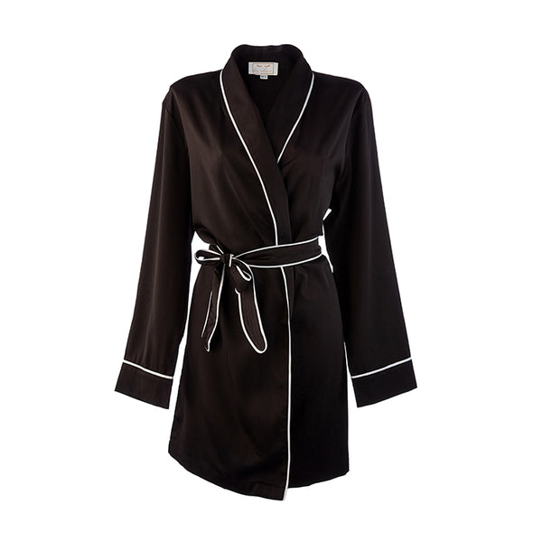 b14440a13c ... Bridal HA Sleep Satin Dressing Gown Robe - Black